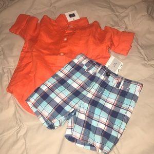 Toddler boy linen shorts/shirt set